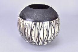 ASHRAF HANNA (born 1967); a globular naked raku vessel with linear pattern, incised ASH mark, height