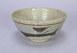 Leach Pottery; a stoneware Z bowl,iron brushwork on cobalt washed ground, impressed pottery mark,