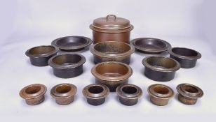 Arabia, Finland; a Ruska stoneware casserole, five soup dishes, two further dishes, one bowl and six