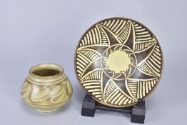 AGNETE HOY (1914-2000) for Bullers; a stoneware open bowl with incised sunburst decoration,