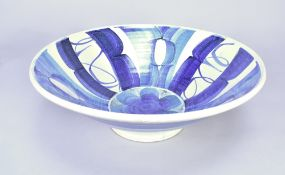 Aldermaston Pottery; a large tin glazed earthenware bowl, painted AR mark (probably either Simon