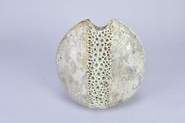 ALAN WALLWORK (1931-2019); a flattened oval stoneware pebble form decorated with a vertical band
