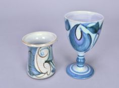 ALAN CAIGER-SMITH (1930-2020) for Aldermaston Pottery; a tin glazed earthenware goblet, painted