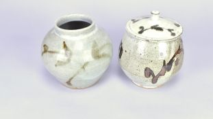 ANDREW MARSHALL (born 1952); a stoneware jar and cover, iron brushwork on speckled grey ground,