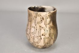 ANTONIA SALMON (born 1959); a smoke fired stoneware vessel, burnished with incised decoration,