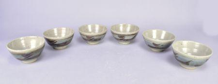 Leach Pottery; a set of six stoneware Z bowls, iron brushwork on cobalt washed ground, impressed