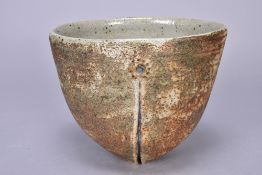 ALAN WALLWORK (1931-2019); an oval stoneware bowl with pierced sides, incised AW mark, diameter