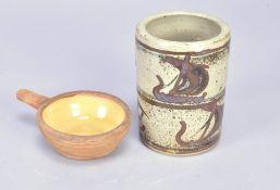 BERNARD LEACH (1887-1979) for Leach Pottery; a slipware ramekin/egg baker, impressed early BL