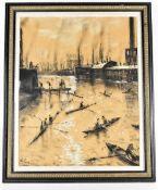HAROLD RILEY DL DLitt FRCS DFA ATC (born 1934); large charcoal study, 'Mark Addy's Bridge',