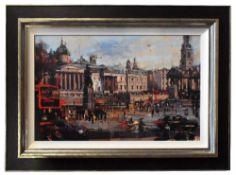 CHRISTIAN HOOK (born 1971); a signed limited edition print on board, 'Trafalgar Square', edition 9/