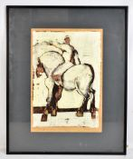 GEOFFREY KEY (born 1941); figure on horse, mixed media on paper, signed and dated 13.3.69 lower