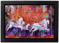 KATHERINE DOVE; mixed media on canvas, 'Carousel III' 50 x 76cm, signed lower right, framed. (D)