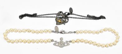 VIVIENNE WESTWOOD; a one-row pearl choker with iconic logo and a Vivienne Westwood black metal chain