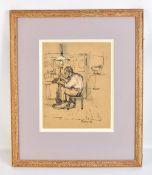HAROLD RILEY DL, DLitt, FRCS, DFA, ATC (born 1934); crayon heightened with colour, The Cobbler,
