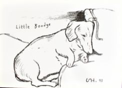 AFTER DAVID HOCKNEY; lithograph on card, 'Little Boodge' (1993), small poster depicting the artist's