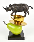 GILLIE & MARC; a contemporary bronze sculpture, 'The Rhino Just Wanted a Coffee and Pear', signed