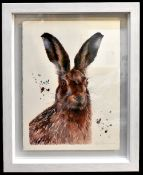 SARAH STOKES; watercolour on paper, 'Brown Hare Study' signed lower right, 76 x 55cm, framed. (D)