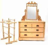 A late Victorian pine dressing chest with rectangular mirror,
