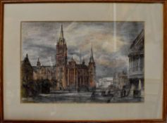 ALLAN P TANKARD (British, 20th century); pastel and white heightened pencil, Town Hall Liverpool,