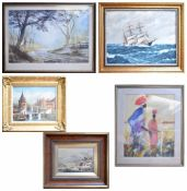 Thirteen various watercolours, oils and prints to include,