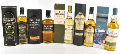 WHISKY; five single bottles of Single Malt Whisky comprising Ledaig Glen Keith Distillery Edition,