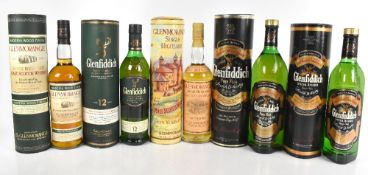 WHISKY; five bottles of Single Malt Scotch Whisky comprising The Glenmorangie 'Ten Years Old' and '