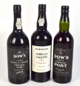 PORT; three bottles of Port comprising Dow's 1970 and 1984 Quinta do Bomfim and Robertson's