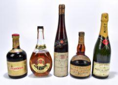MIXED SPIRITS; five bottles comprising Grand Marnier 'Old Fine Champagne Cognac & Orange' liqueur,