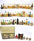 MIXED SPIRITS; a collection of miniatures comprising predominantly Whisky and Cognac/Brandy