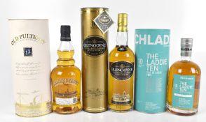 WHISKY; three single bottles of Single Malt Scotch Whisky comprising Bruichladdich 'The Laddie