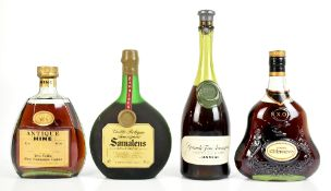 COGNAC; single bottles of Hine Antique 70cl and Hennessy X.O. 68cl, also single bottles of