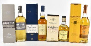 WHISKY; four single bottle of Single Malt Scotch Whisky comprising Auchentoshan Triple Distilled