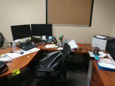 desk, office chair, printer (2) monitors, keyboard