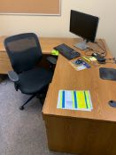desk, corkboard, chair, monitor, keyboard