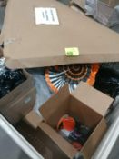 Halloween and Christmas decorations in pallet crate