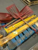 Shovels, broom, forklift forks