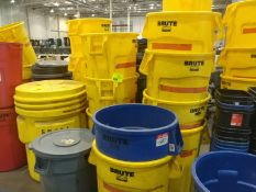 (43) - 55 gallon trash barrels, (1) - 95 gallon barrel, waste baskets, and recycling bins