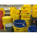 (43) - 55 gallon trash barrels, (1) - 95 gallon barrel, waste baskets, and recycling bins