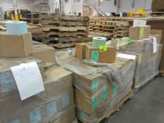 (3) palles of blue, green, and white labels