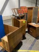 (7) Wooden office pieces and (2) chairs