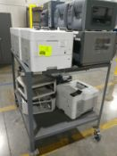 Rolling cart with printers and postage machines