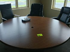 Round office table with 6 rolling office chairs