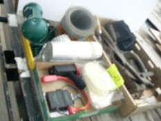 (3) FLATS WITH HAND TOOLS, SPONGES, GUTTER GUARD, POWER OUTLET, MISC.