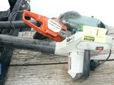(2) LEAF BLOWERS, REMINGTON ELECTRIC CHAINSAW (ALL UNTESTED)