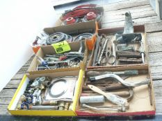 (6) FLATE HAND TOOLS, PIPE FITTINGS, WEIGHTS