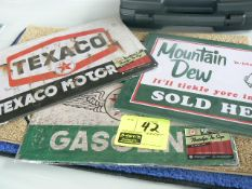 (2) TEXACO AND (1) MOUNTAIN DEW REPRO METAL SIGNS