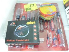 CRAFTSMAN SCREWDRIVER SET, SON & DAD POCKET KNIVES, POLICE FLASHLIGHT