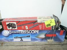 VIDEO TRIPOD IN BOX, 600 POWER TELESCOPE IN BOX