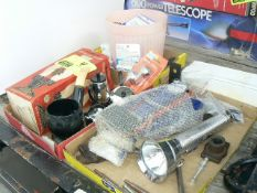 (3) FLATS WITH NEW BICYCLE PUMP, FLASHLIGHTS, TEASET, TIMERS, CURLERS