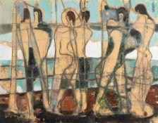 Max Kaus (1891 – Berlin – 1977)Figuren am Meer.Mischtechnik auf Karton. 1950.